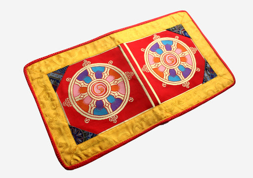 Wheel of Life Dharmachakra Brocade Fabric Altar Cloth - nepacrafts