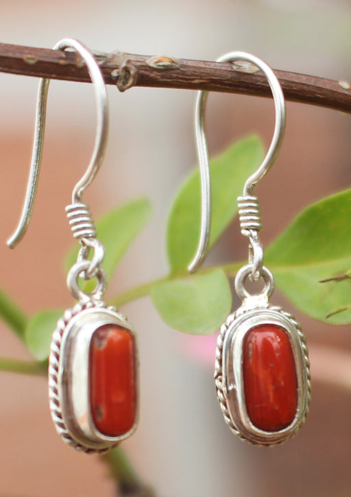 Fine Carving Coral Inlaid Silver Earrings - nepacrafts