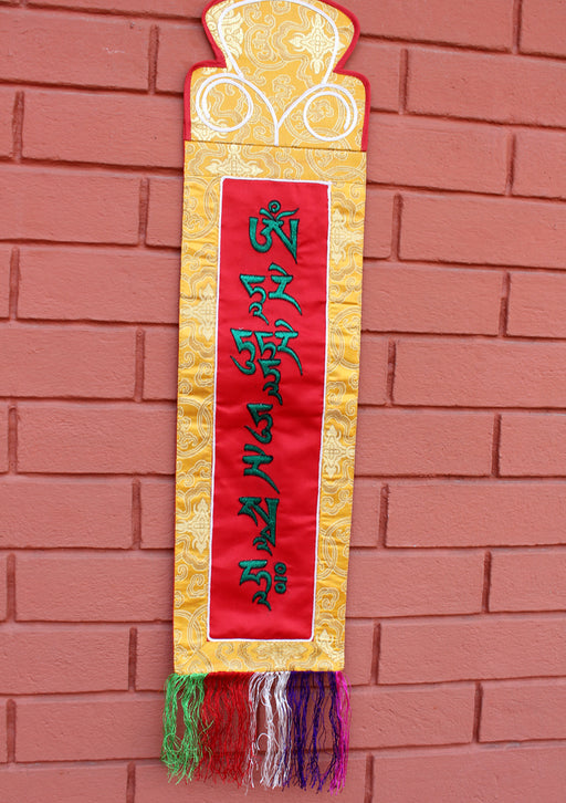 Tibetan Deities Tara Mantra Embroidered Polyester Brocade Wall Hanging Banner - nepacrafts