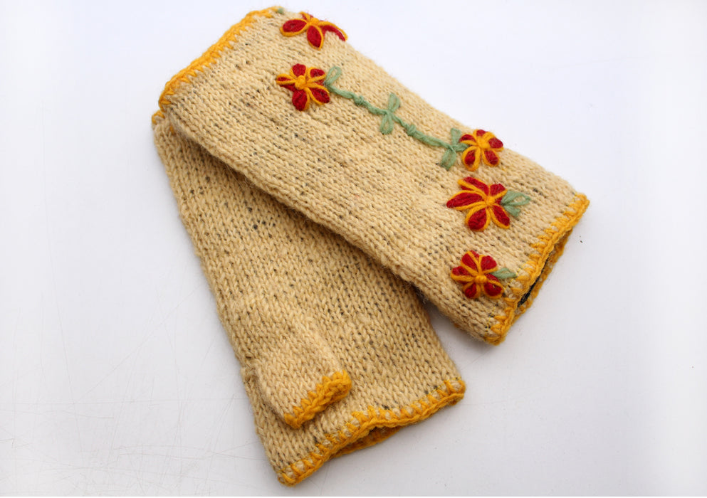 Yellow Color with Red Flower Patchwork Finger less Gloves /Hand Warmers - nepacrafts