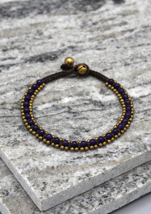 Glass Beads Brass Bell Fashionable Anklet - nepacrafts