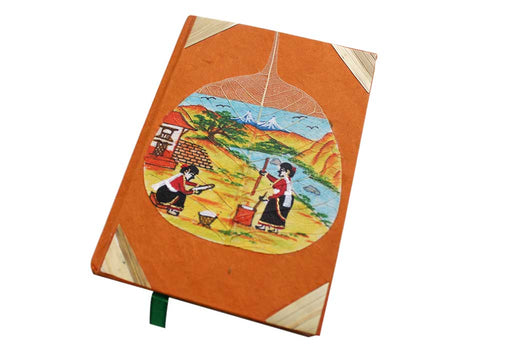 Two Women Working in Village Painted Lokta Paper Journal Book - nepacrafts