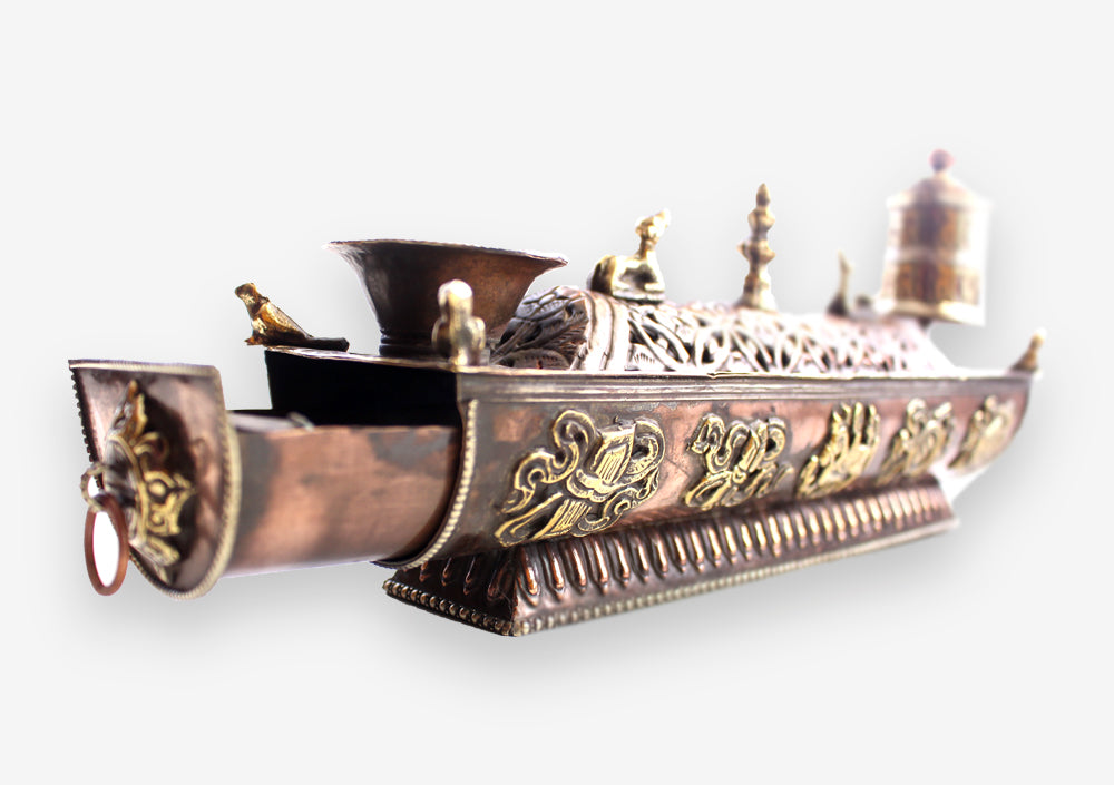Copper Tibetan Symbolled Potala Incense Burner with Prayer Wheel - nepacrafts