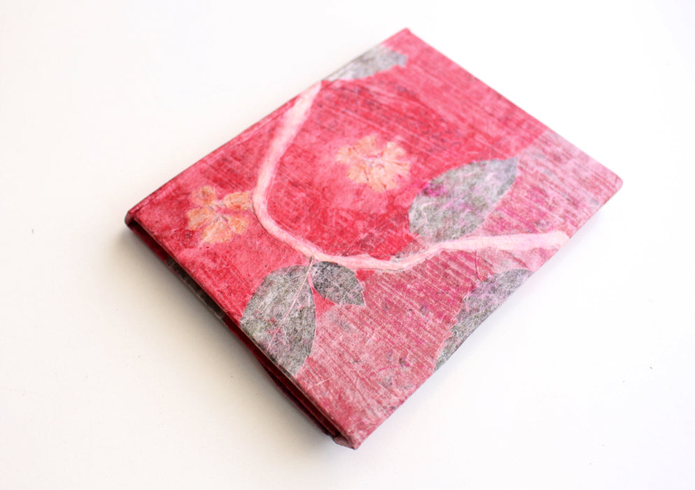 Knot Design Leaves Printed Red Color Lokta Paper Journal Book - nepacrafts
