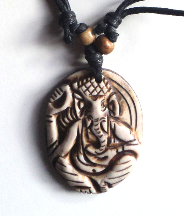 Hand Crafted White Ganesh Bone Pendant Necklace - nepacrafts