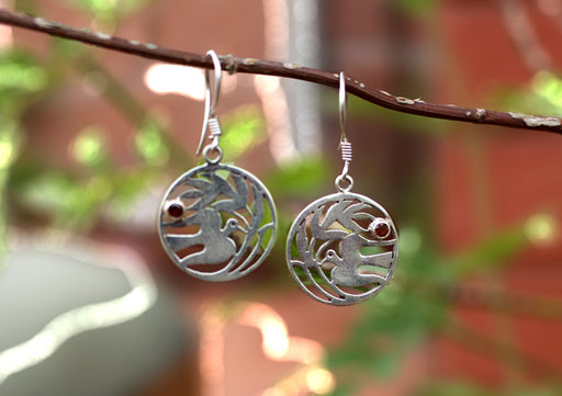 Charming Peace Bird in a Circle Silver Sterling Earrings - nepacrafts