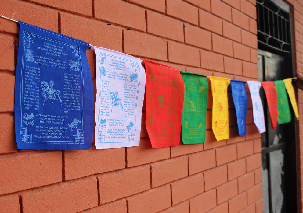 Windhorse Mantra Printed Prayer Flags in English - nepacrafts