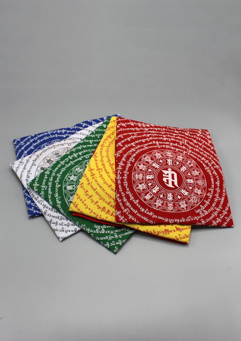 Yellow Color Namgyalma Powerful Mantra Printed Cotton Prayer Flags