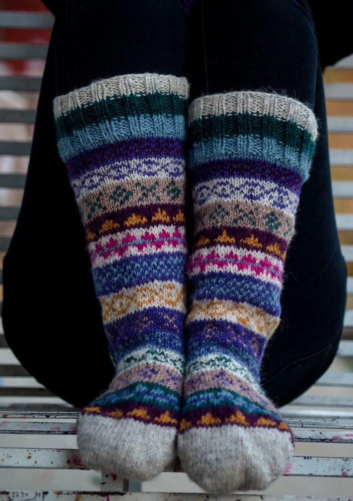 Multicolor Winter Sherpa Knee High Woolen Socks
