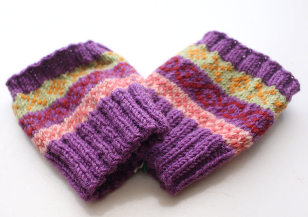 Handknitted Purple Multicolor Christmas Gift Short Legwarmers - nepacrafts