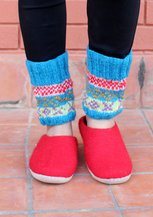 Dark Blue Multicolor Handknitted Short Legwarmers - nepacrafts
