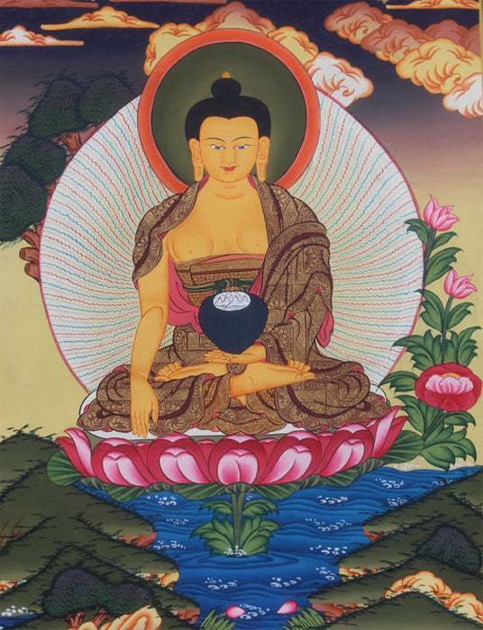 Thangka of the Shakyamuni Buddha 44x34cm - nepacrafts