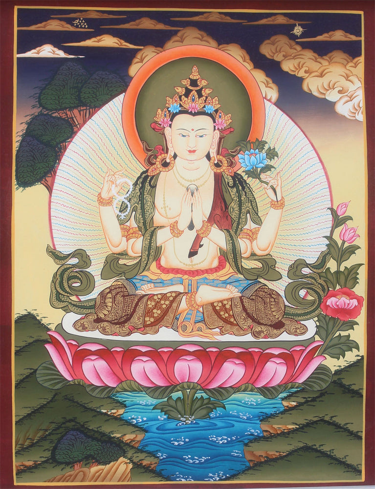 Four Armed Chenrezig Buddhist Thangka 45x35cm