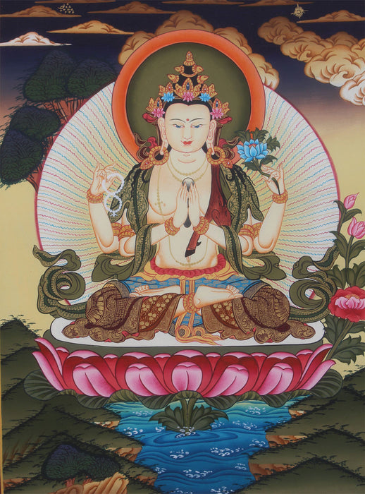 Four Armed Chenrezig Buddhist Thangka 45x35cm - nepacrafts
