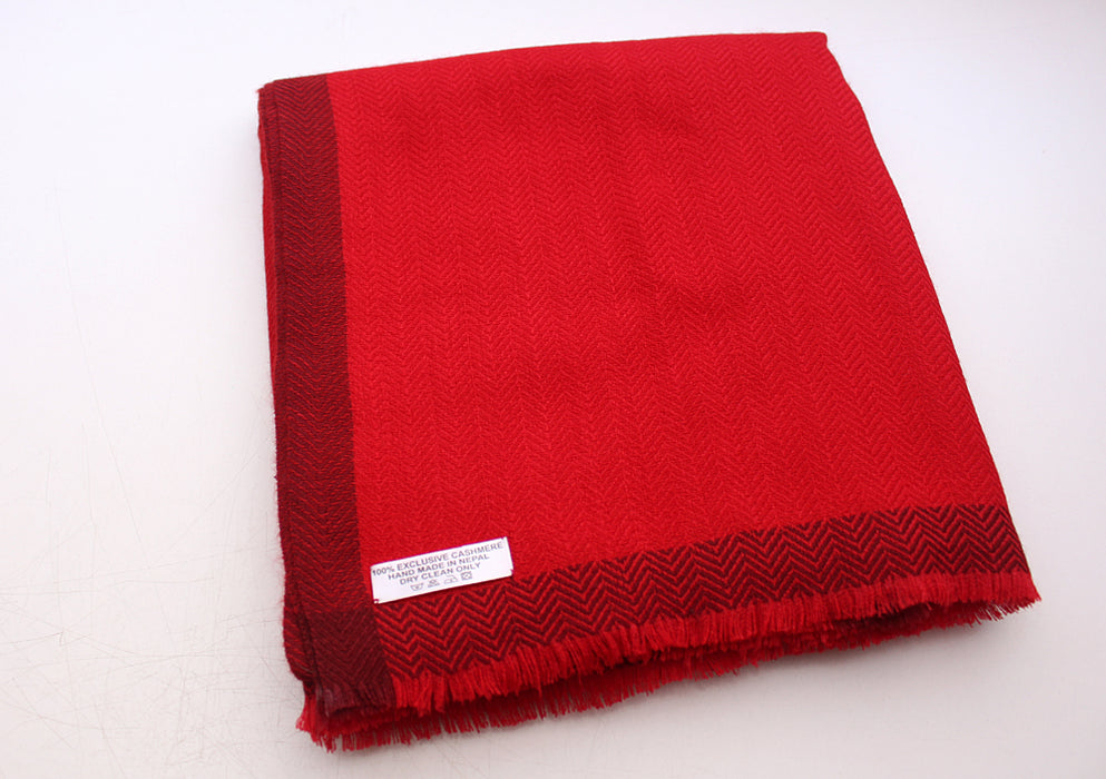 100 % Exclusive Red Cashmere Shawl with Border Herringbone Pattern - nepacrafts