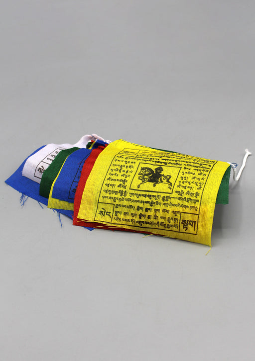 Set of Five Cotton Windhorse Prayer Flags, Tibet Flags