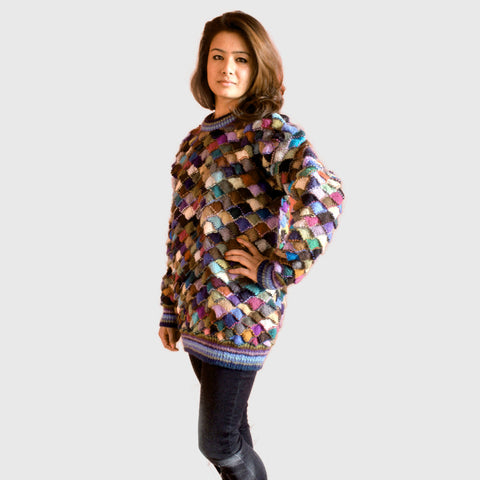 Patchwork Cozy Hand knitted Woolen Sweater