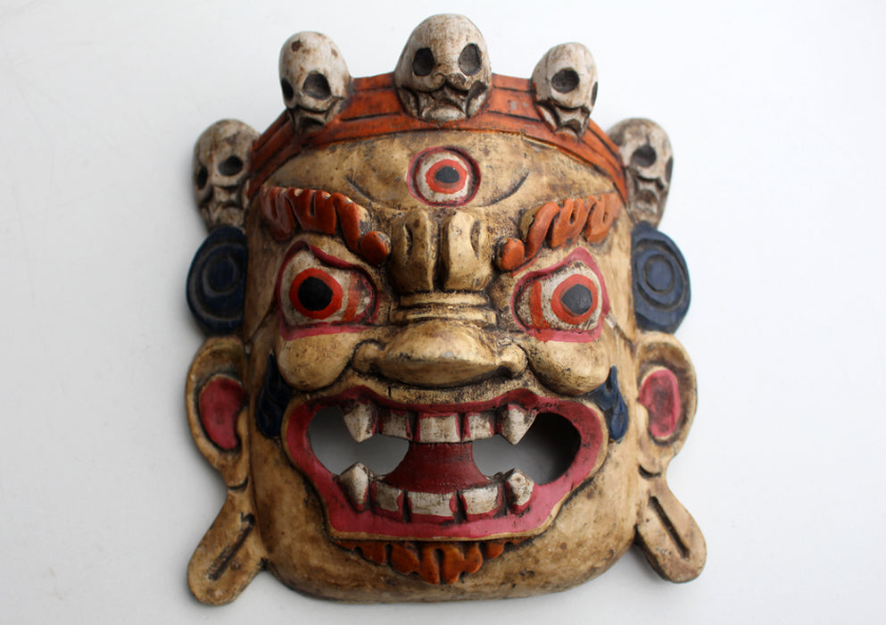 Handcrafted Bhairab Wooden Wall Hanging Mask - nepacrafts