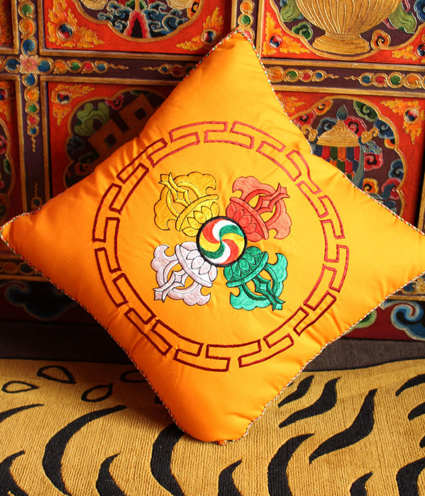 Orange Double Dorje Cushion Cover with thin inner foam