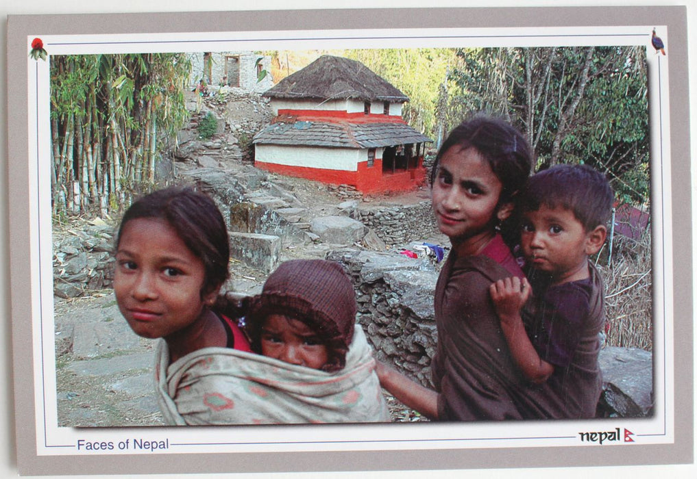 Faces of Nepal Postcard-Showing Typical Nepali Houses and Faces - nepacrafts