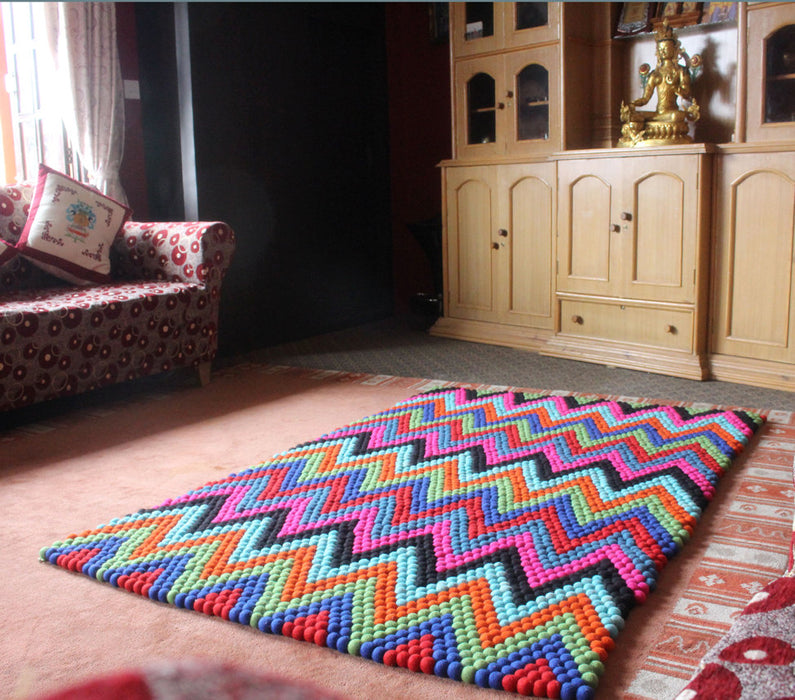 Colorful Felt Floor Carpet- Pattern Felt Rugs made of Felt Balls FR035 - nepacrafts