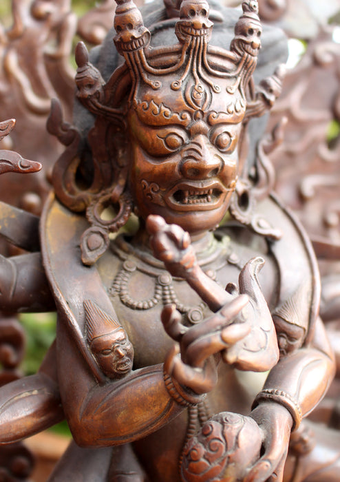 "Copper Handcarved Mahakala Statue 12"" High - nepacrafts"