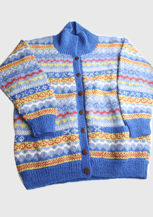 Blue and Yellow Mixed Multicolor Hand Knitted Pure Woolen Cardigan Sweater - nepacrafts