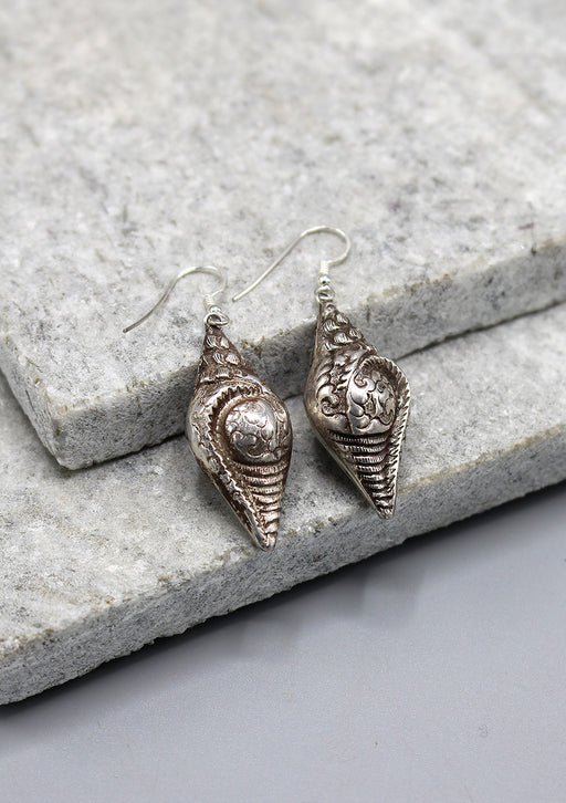Tibetan Lucky Symbol Conch Shaped Sterling Silver Earrings