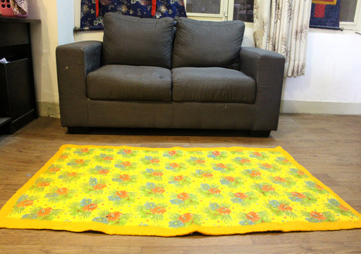 Flower Printed Yellow Felt Floor Rug - nepacrafts