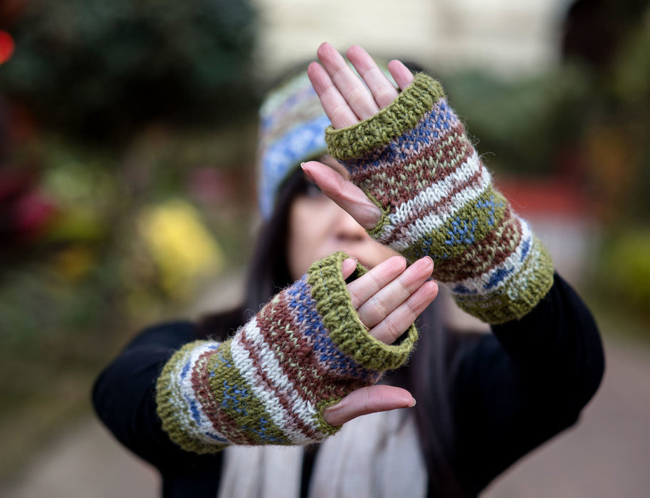 Olive Green Pure Woolen Hand Warmers