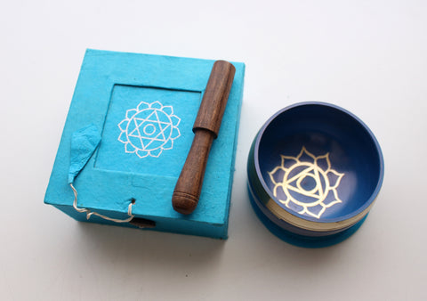 Heart Painted Singing Bowl with Cushion and Stupa Stick in a Gift Box