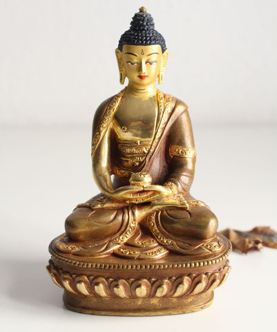 Partly Gold Plated Amitabha Buddha 5.9 inch High - nepacrafts - 1