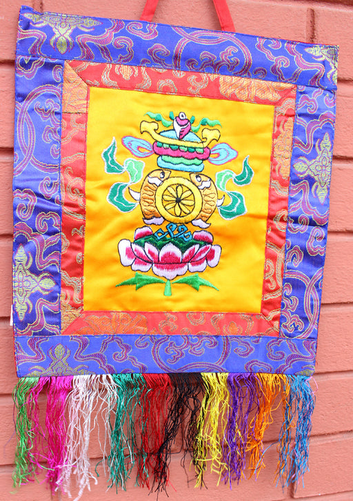 Hand Embroidered Tashi Tagye Auspicious Symbol Tibetan Wall Hanging Banner - nepacrafts