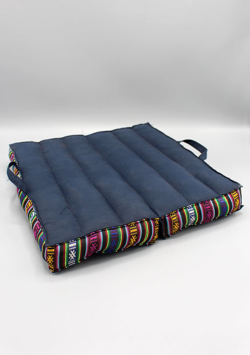 Multicolor Gheri Border Blue Large Foldable Mediation Cushion - nepacrafts