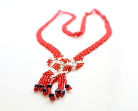 Crocheted Red Glass Beads Women's Necklace