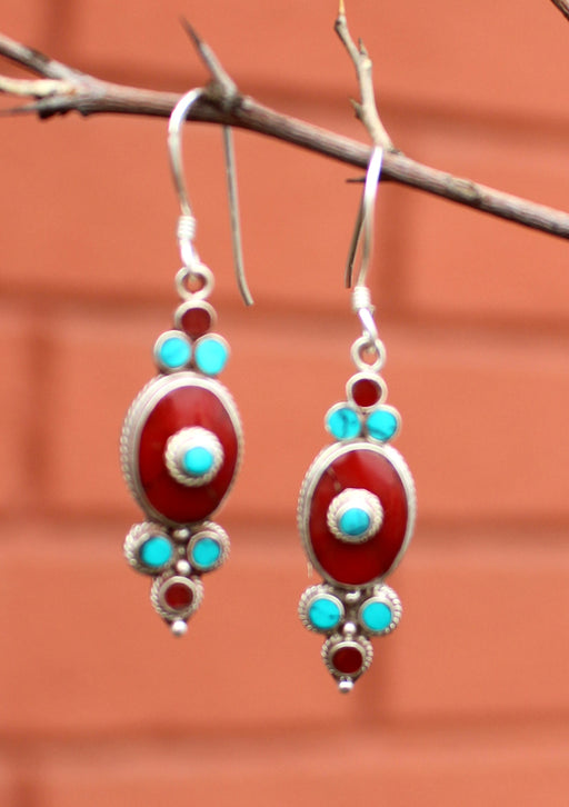 Floral Inlaid Turquoise and Coral Dangle Silver Earrings - nepacrafts