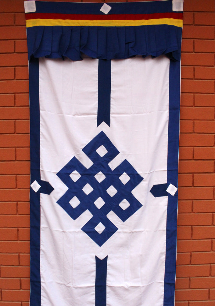 Tibetan Buddhist Endless Knot Door Curtain, Meditation Room Divider - nepacrafts