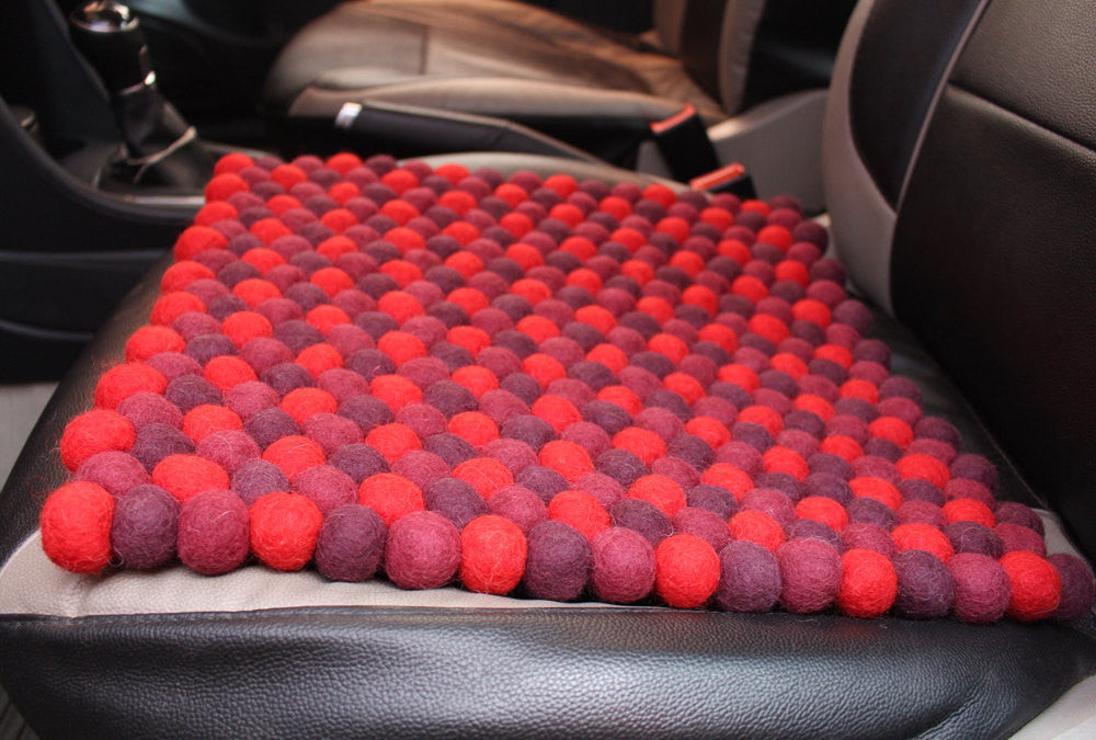 Red Shade Felt Balls Square Mat - nepacrafts