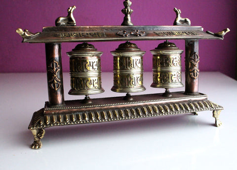 3 in 1 Copper Desktop Prayer Wheel in a Potala Palace Design Metal Frame - nepacrafts
