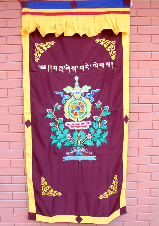 Heavy Embroidered Lotus and Eight Auspicious Symbol Silk Door Curtain - nepacrafts