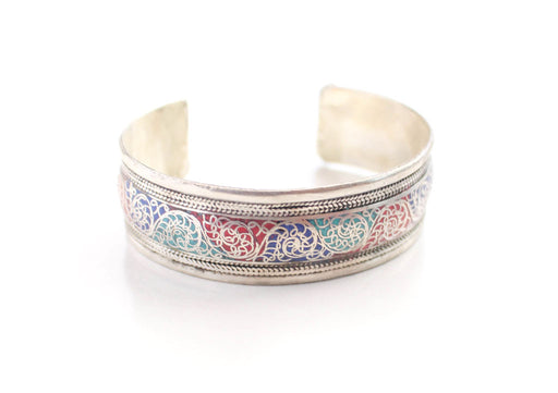 Motif Carving Silver Plated White Metal Bracelet - nepacrafts