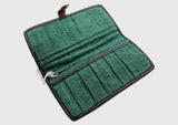 Green Hemp Clutch Purse with Leather Edging, Women Hand Purse - NepaCrafts