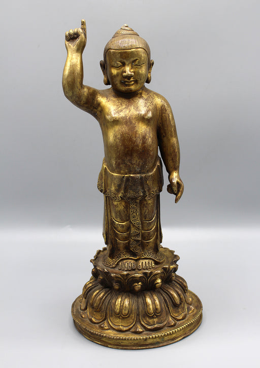 Gold Plated Baby Buddha Standing Statue - nepacrafts