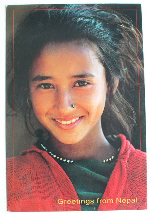 Smiling Nepalese Girl, Greetings From Nepal Postcard - nepacrafts