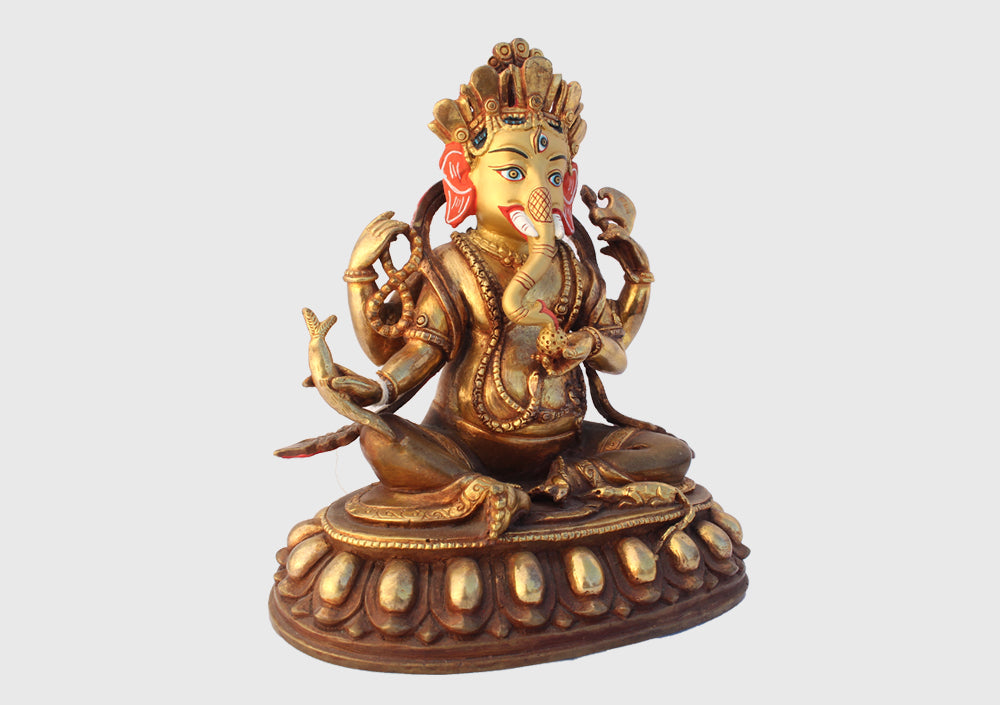 "Gold Plated Ganesha Statue 6"" High - nepacrafts"