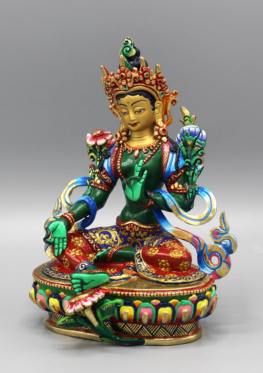 Fine Carving Green Tara Hand Painted Statue - nepacrafts