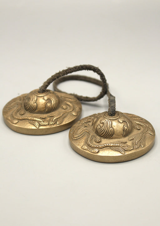 Antique Dragon Carving Meditation Cymbals - nepacrafts
