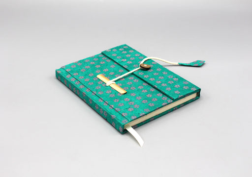 Green Floral Printed Lokta Paper Journal Book - nepacrafts