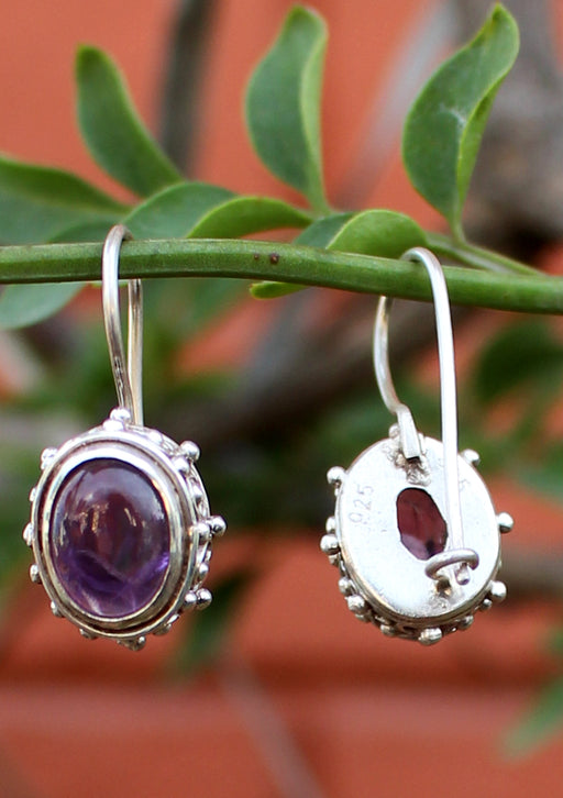 Amethyst Inlaid Silver Sterling Earrings - nepacrafts