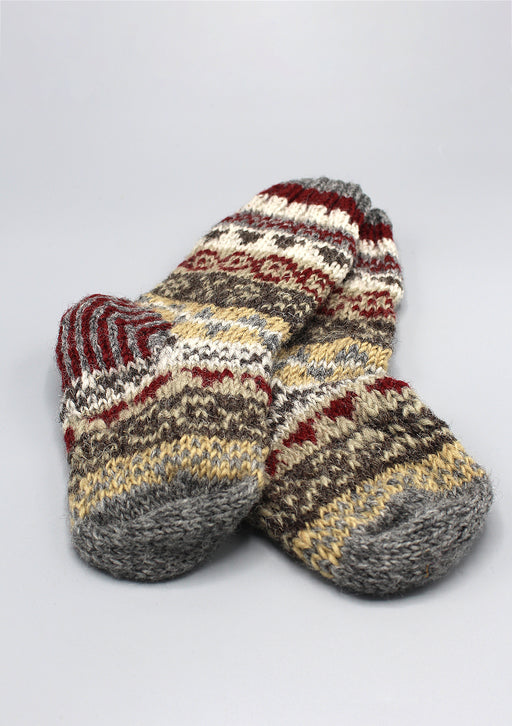 Gray Red Multicolored Pure Woolen Children Socks